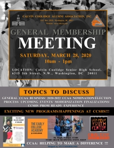 3/28/2020 - CCAA Annual General Membership Meeting - inclusive/of the 2020-2022 Nominations/Elections Proceedings