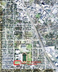 Vicinity map of the Coolidge High School campus and surrounding community